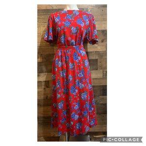 Vintage Talbot Red Blue Floral Skirt Top Set Large